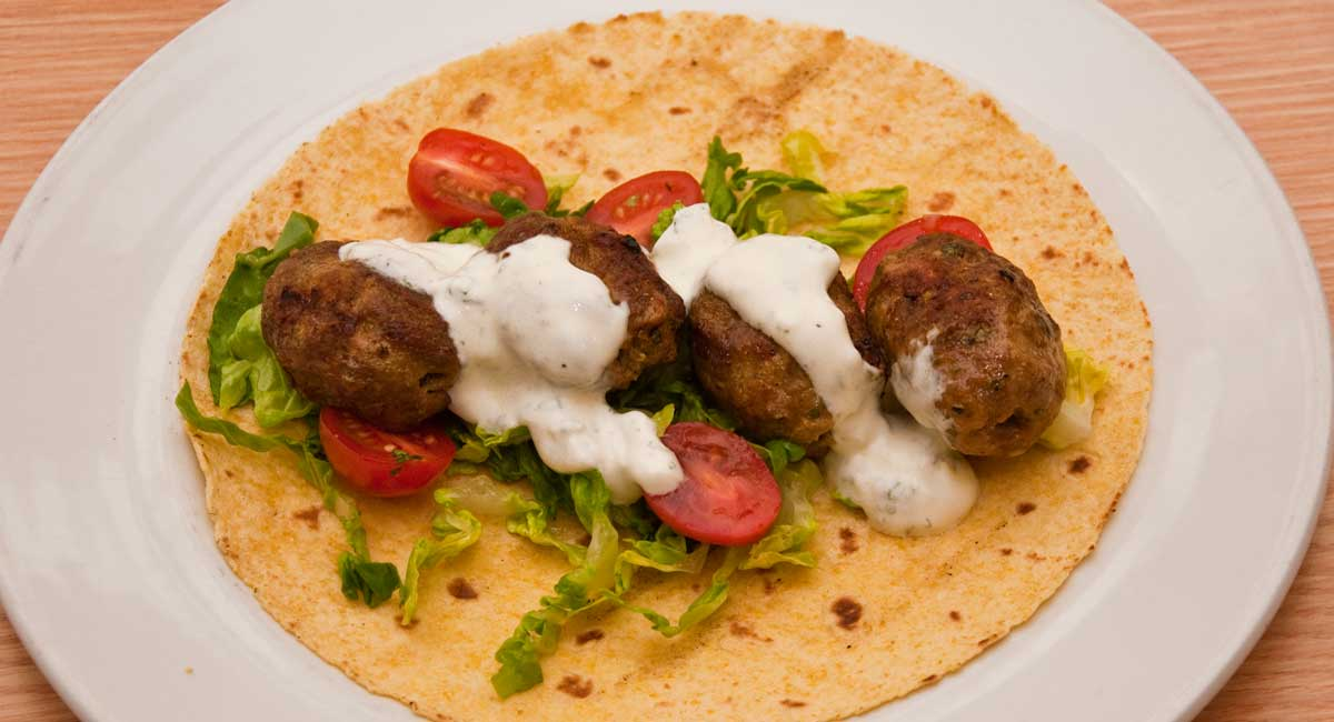Lamb Kofta with garlic and mint sauce