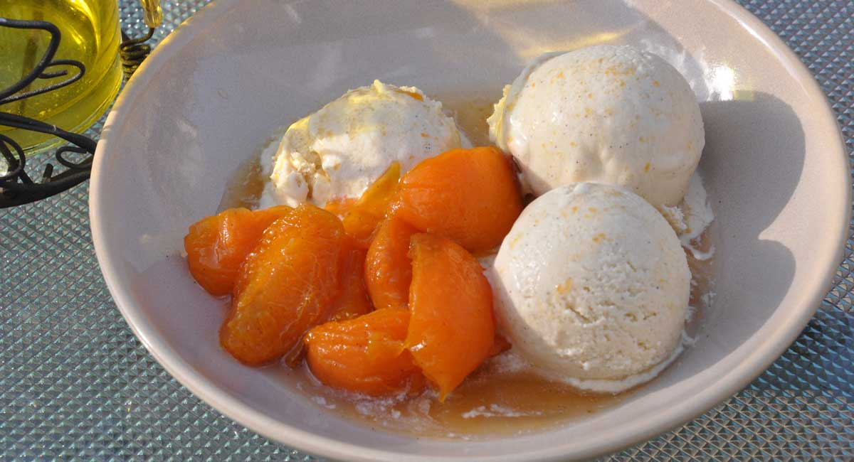 Vanilla Ice Cream with Soaked Apricots
